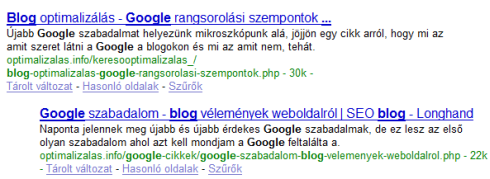 Google blog: optimalizálás info