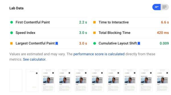 Web Vitals mutatók, Page Speed Insights eszközben